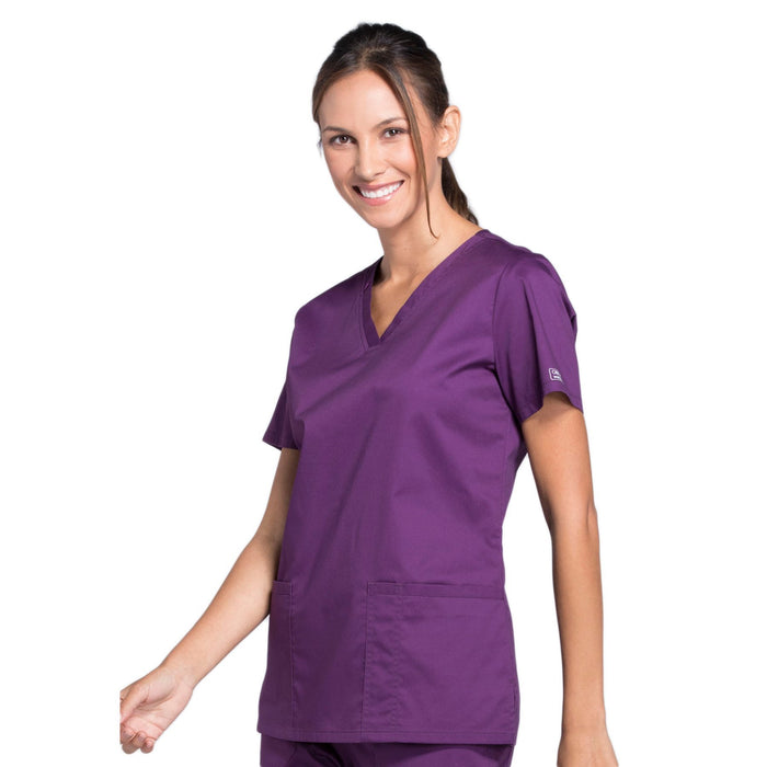 Cherokee Core Stretch WW630 Scrubs Top Women's V-Neck Eggplant 4XL