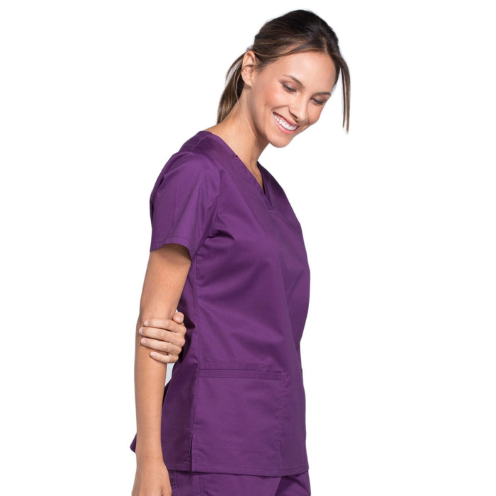 Cherokee Core Stretch WW630 Scrubs Top Women's V-Neck Eggplant 5XL