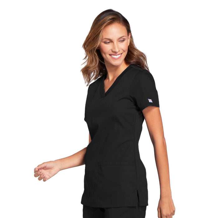 Cherokee Workwear WW645 Scrubs Top Women's V-Neck Black 4XL