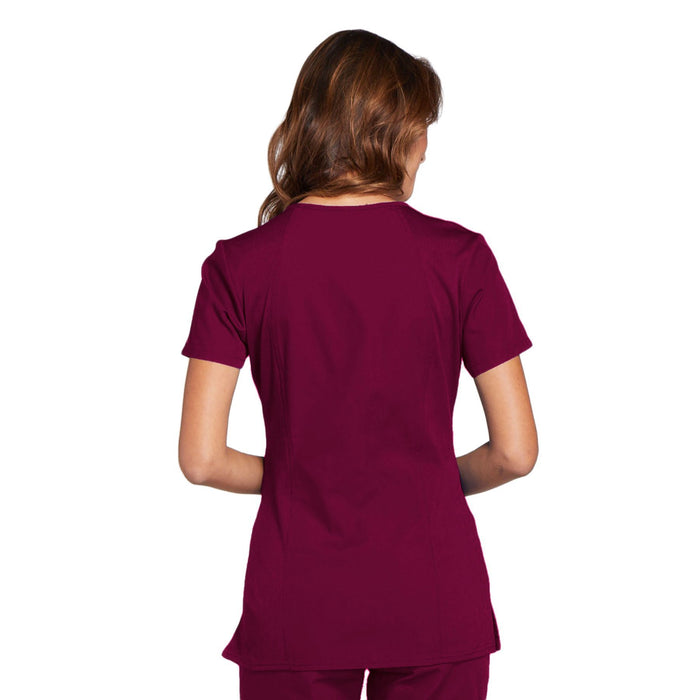 Cherokee Workwear WW645 Scrubs Top Women's V-Neck Wine 3XL
