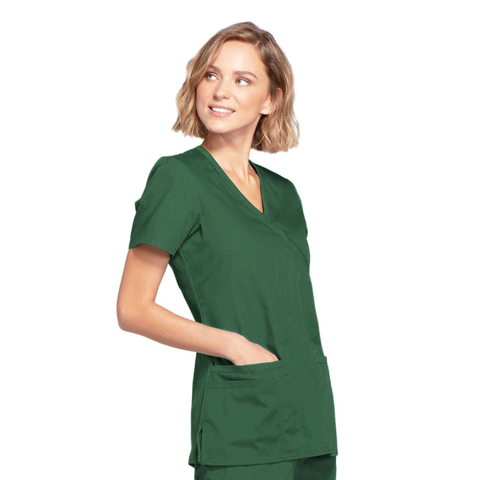 Cherokee Workwear WW650 Scrubs Top Women's Mock Wrap Hunter Green 5XL