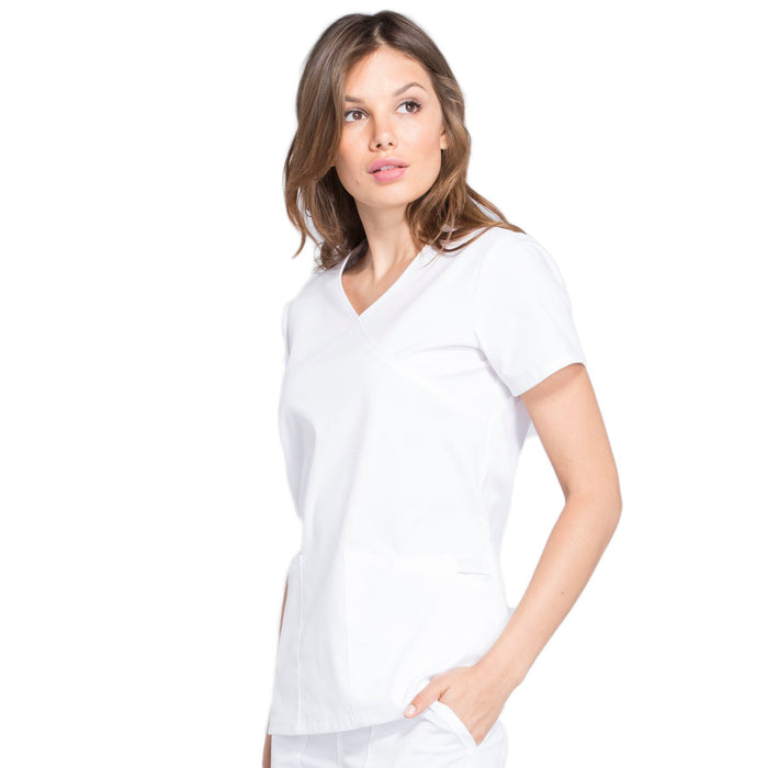 Cherokee Workwear Professionals WW655 Scrubs Top Women's Mock Wrap White 4XL