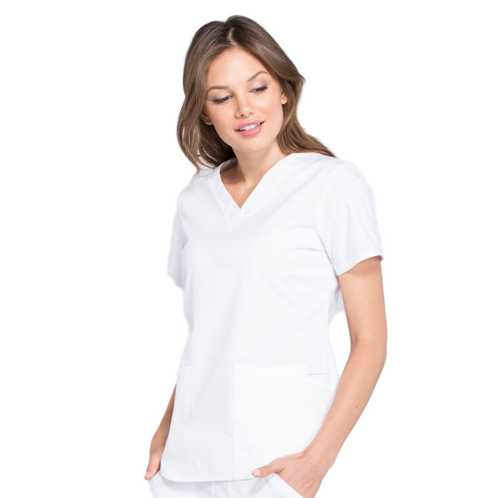Cherokee Workwear Professionals WW665 Scrubs Top Women's V-Neck White 4XL