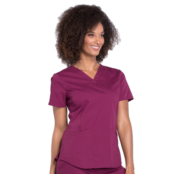 Cherokee Workwear Professionals WW665 Scrubs Top Women's V-Neck Wine 5XL