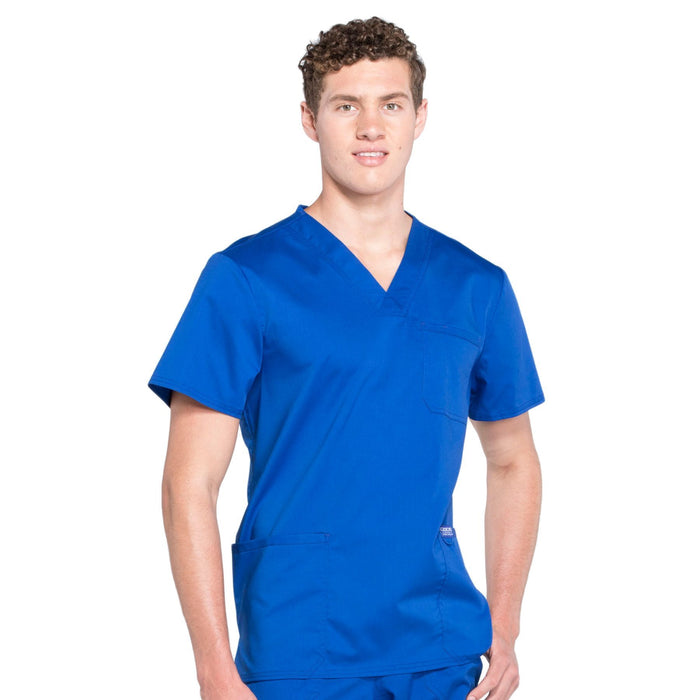 Cherokee Workwear Revolution WW670 Scrubs Top Men's V-Neck Galaxy Blue 5XL