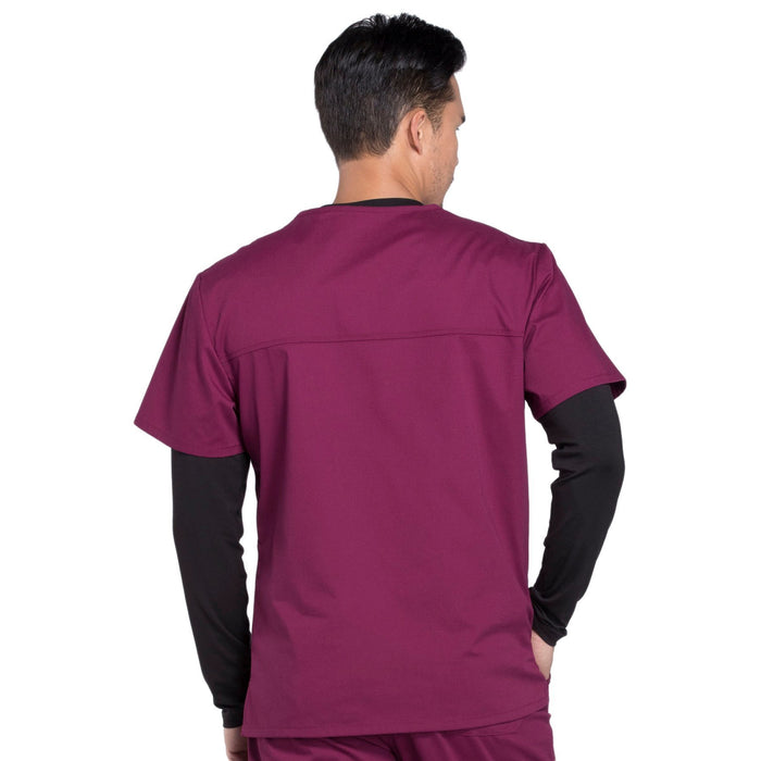Cherokee Workwear Professionals WW675 Scrubs Top Men's V-Neck Wine 3XL