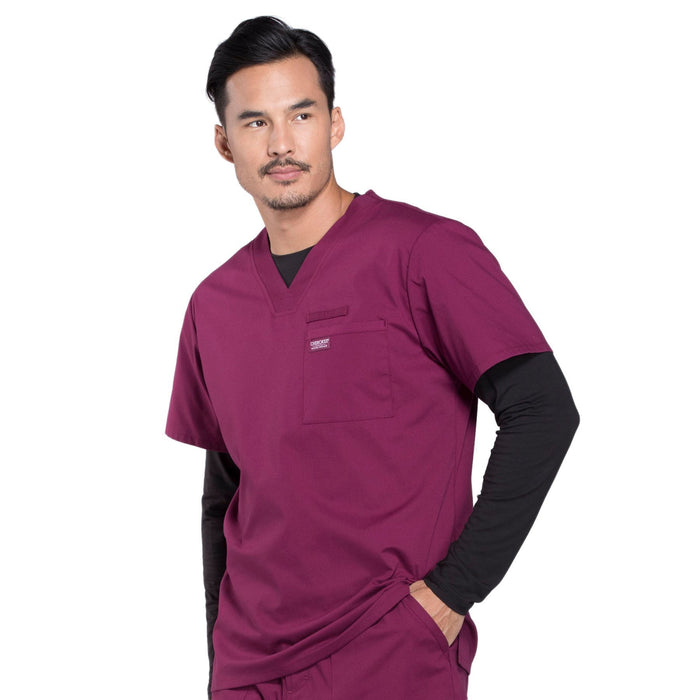 Cherokee Workwear Professionals WW675 Scrubs Top Men's V-Neck Wine 4XL