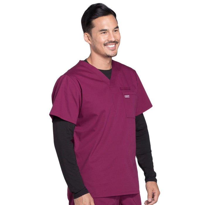 Cherokee Workwear Professionals WW675 Scrubs Top Men's V-Neck Wine 5XL