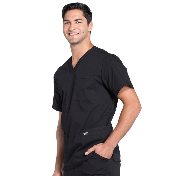 Cherokee Workwear Professionals WW695 Scrubs Top Men's V-Neck Black 4XL