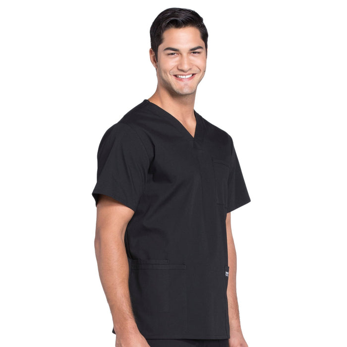 Cherokee Workwear Professionals WW695 Scrubs Top Men's V-Neck Black 5XL
