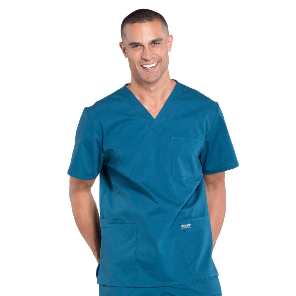 Cherokee Workwear Professionals WW695 Scrubs Top Men's V-Neck Caribbean Blue