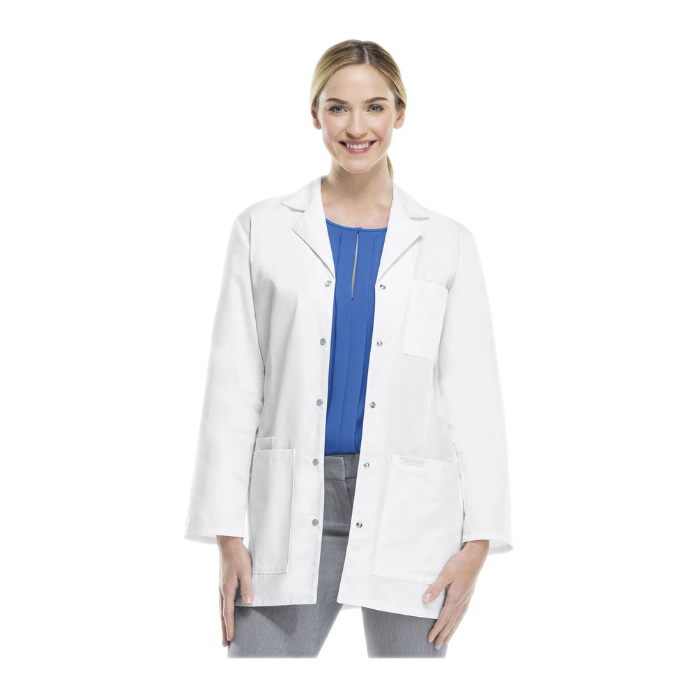 "Cherokee Lab Coats Professional Whites 32"" Snap Front Lab Coat White Lab Coats"