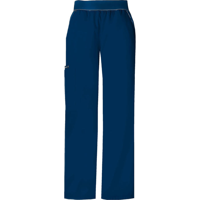Cherokee Scrub Pants Flexibles (Contrast Navy) Mid Rise Knit Waist Pull-On Pant Navy Pant