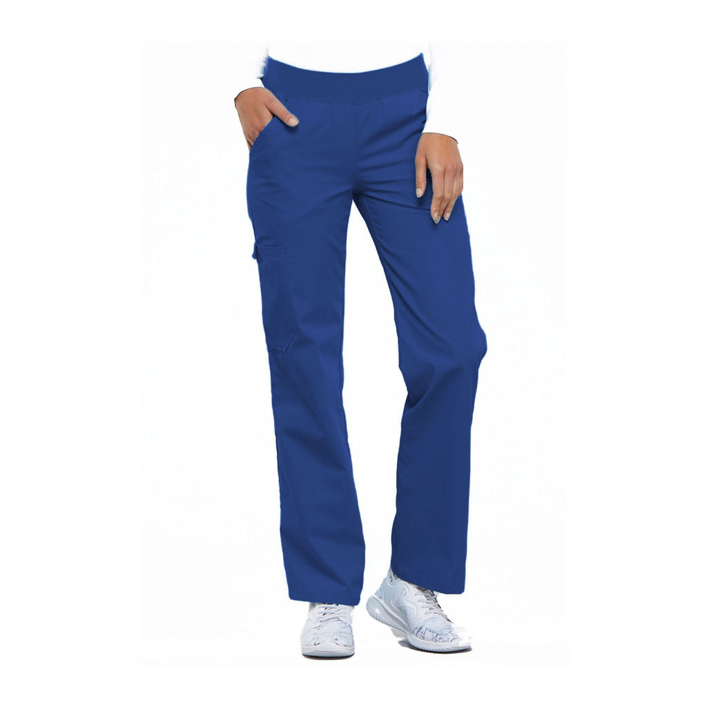 Cherokee Scrub Pants Flexibles (Tonal) Mid Rise Knit Waist Pull-On Pant Royal Pant