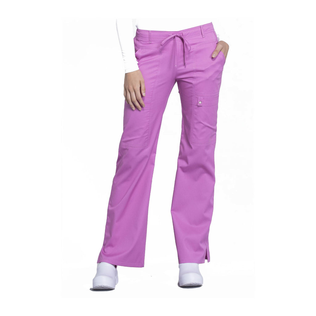 Cherokee Scrub Pants Luxe Contemporary Fit Low Rise Flare Leg Drawstring Cargo Pant Berry Bodacious Pant