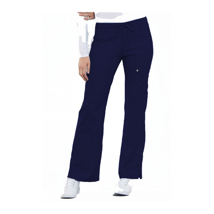 Cherokee Scrub Pants Luxe Contemporary Fit Low Rise Flare Leg Drawstring Cargo Pant Navy Pant