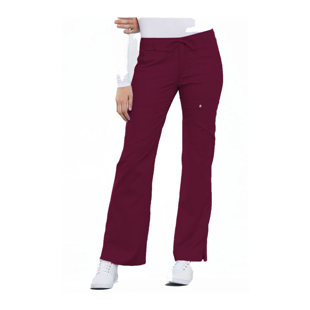 Cherokee Scrub Pants Luxe Contemporary Fit Low Rise Flare Leg Drawstring Cargo Pant Wine Pant