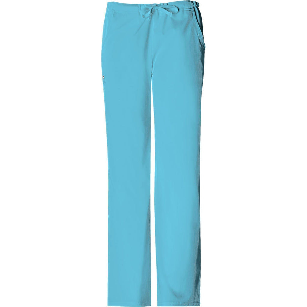 Cherokee Scrub Pants Luxe Low Rise Straight Leg Drawstring Pant Blue Wave Pant