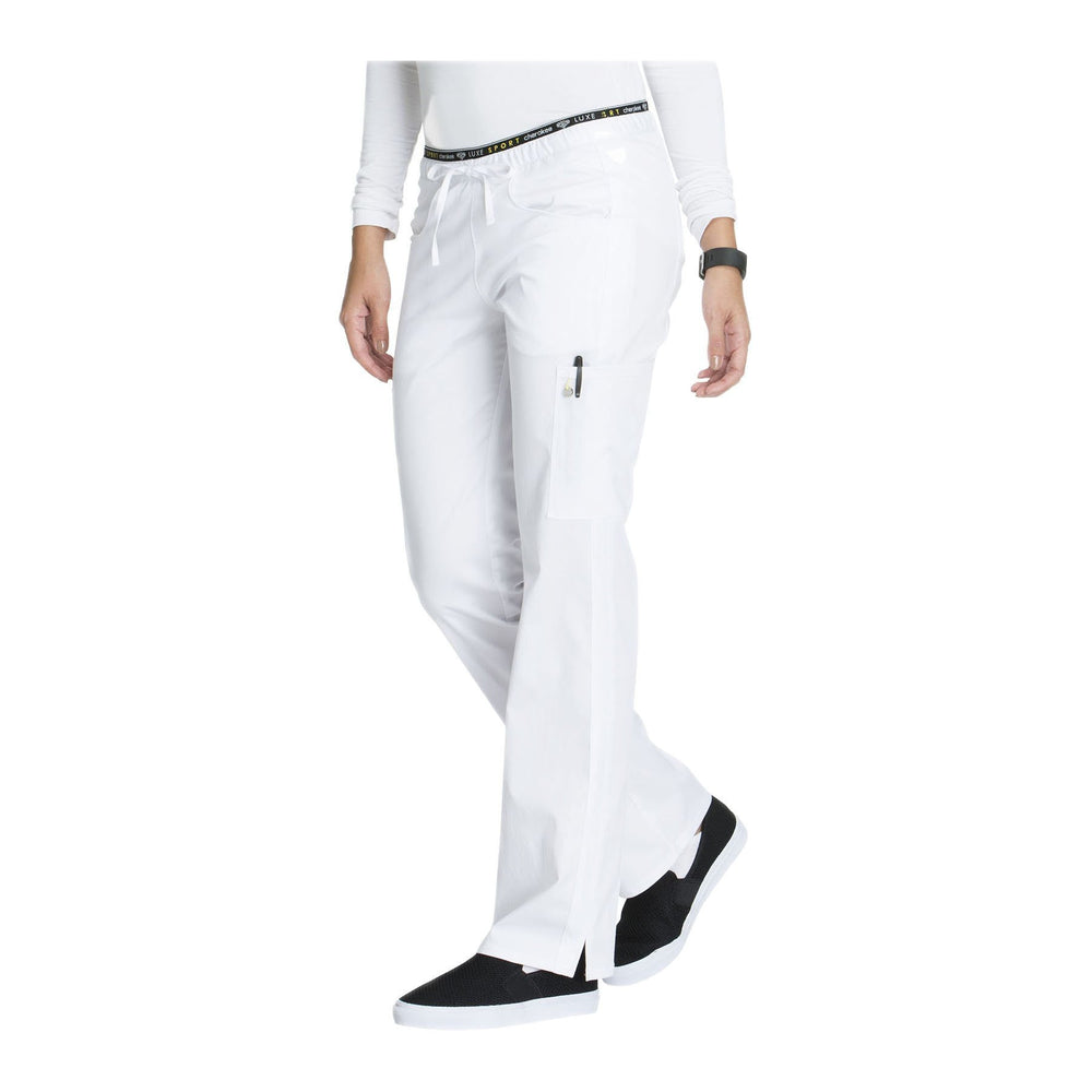 Cherokee Scrub Pants Luxe Sport Mid Rise Straight Leg Pull-on Pant White Pant