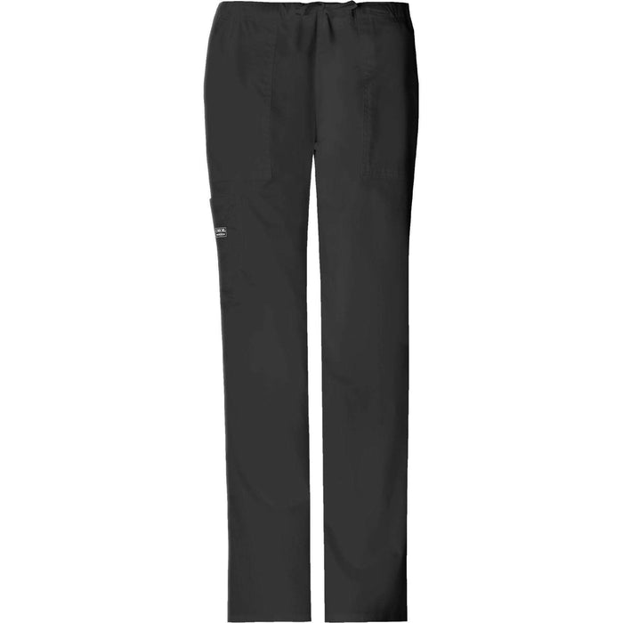 Cherokee Workwear Pant WW Core Stretch Mid Rise Drawstring Cargo Pant Black Pant