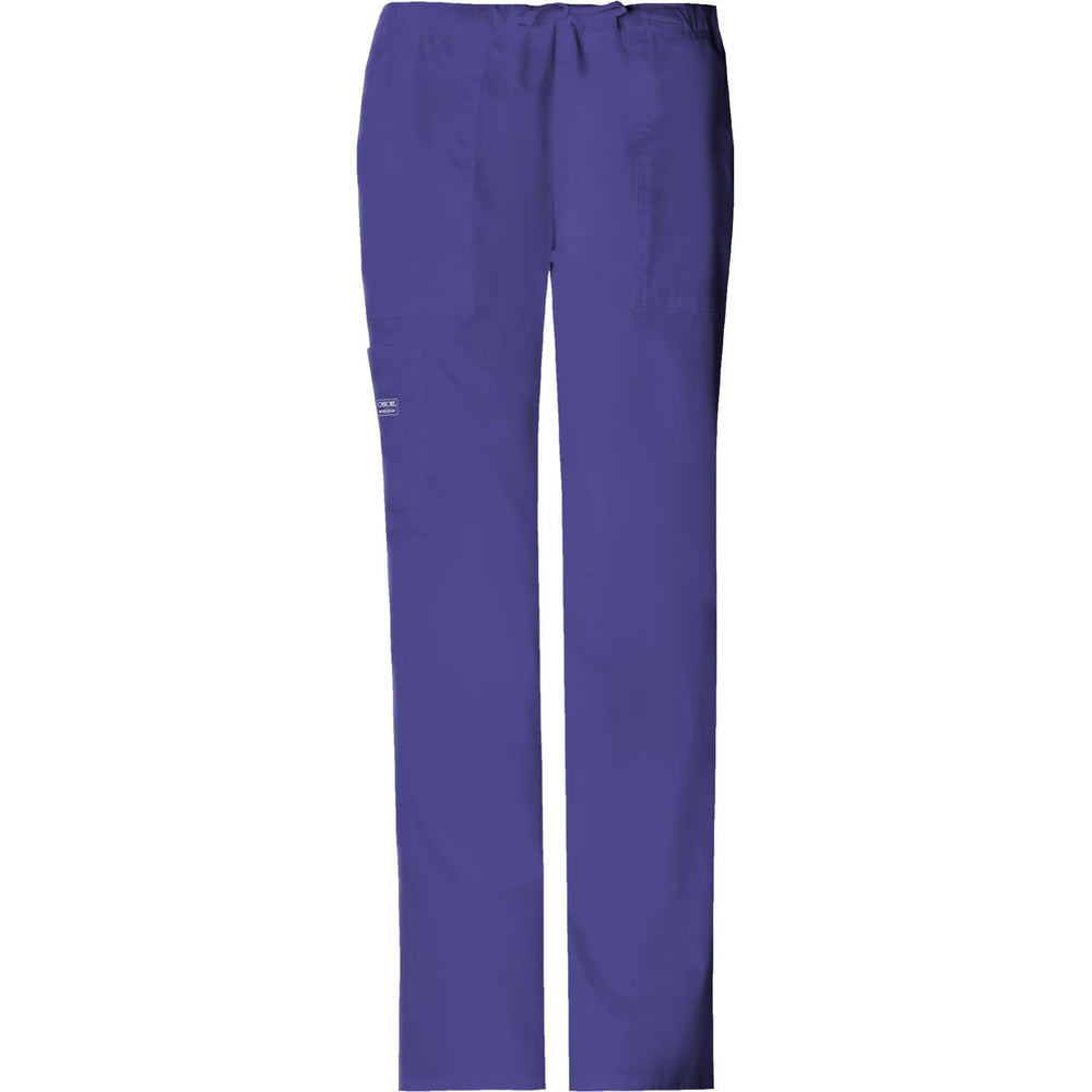 Cherokee Workwear Pant WW Core Stretch Mid Rise Drawstring Cargo Pant Grape Pant