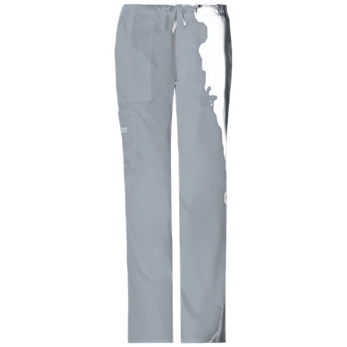 Cherokee Workwear Pant WW Core Stretch Mid Rise Drawstring Cargo Pant Grey Pant
