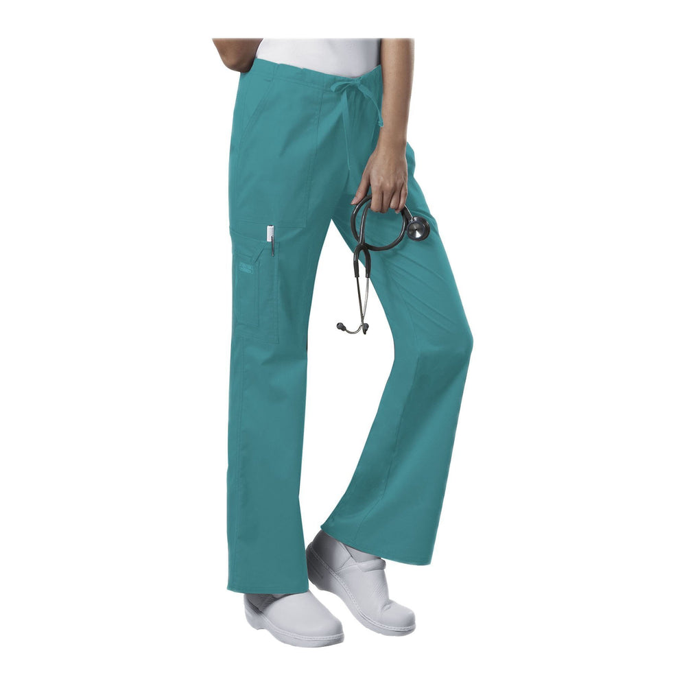 Cherokee Workwear Pant WW Core Stretch Mid Rise Drawstring Cargo Pant Teal Pant