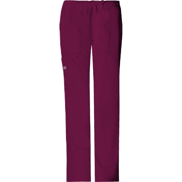 Cherokee Workwear Pant WW Core Stretch Mid Rise Drawstring Cargo Pant Wine Pant