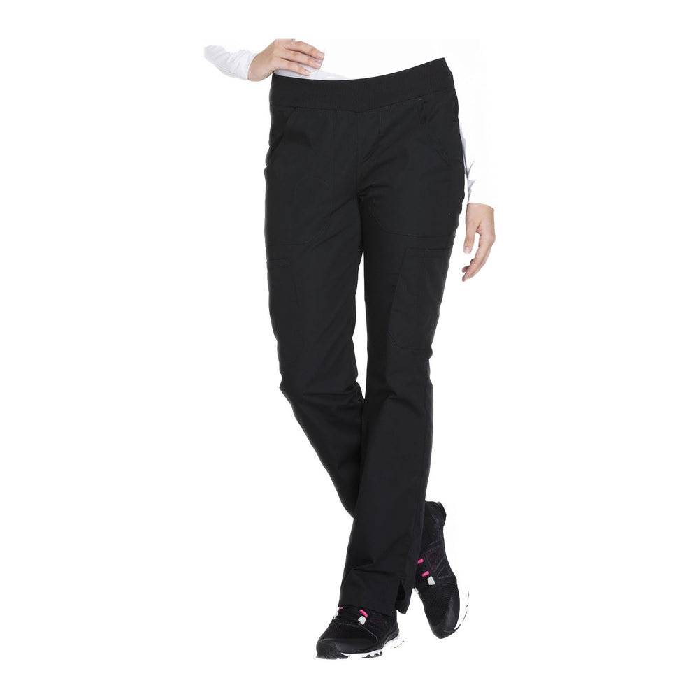 Cherokee Workwear Pant WW Mid Rise Straight Leg Pull-on Cargo Pant Black Pant