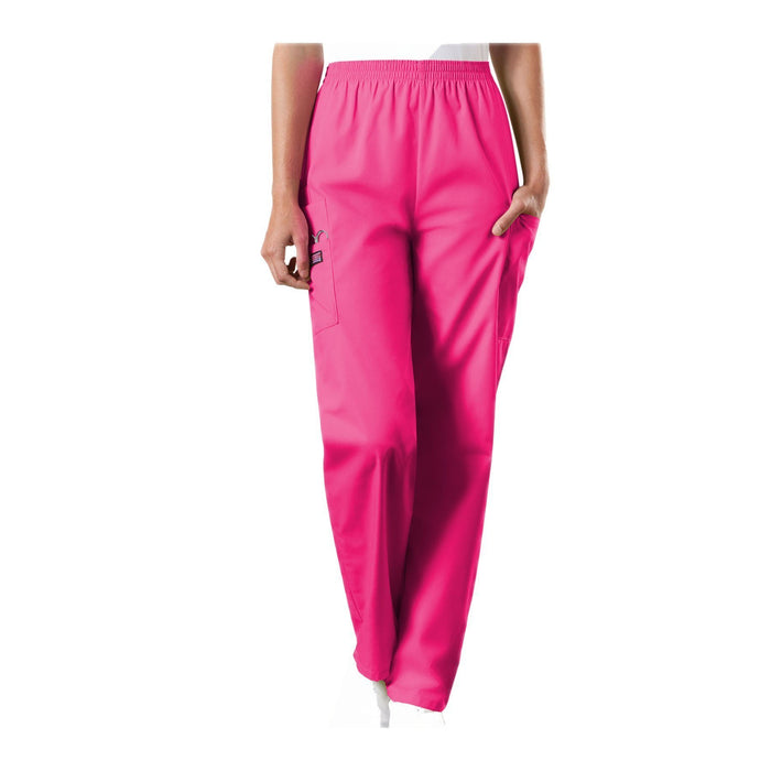 Cherokee Workwear Pant WW Natural Rise Tapered Pull-On Cargo Pant Shocking Pink Pant