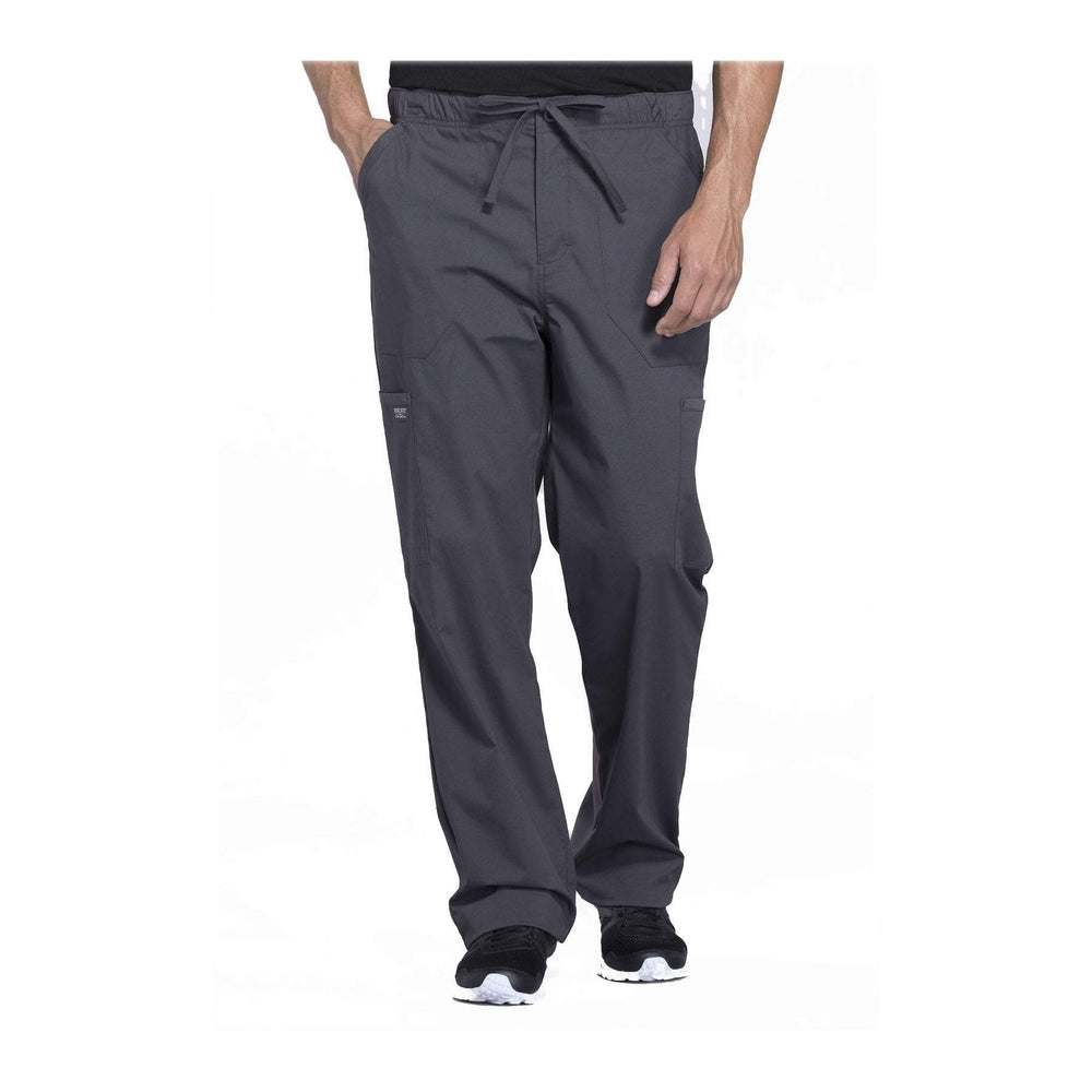 Cherokee Workwear Pant WW Professionals Mens Men's Tapered Leg Drawstring Cargo Pant Pewter Pant