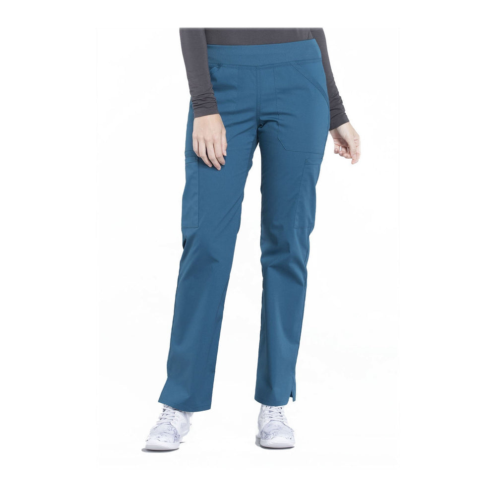 Cherokee Workwear Pant WW Professionals Mid Rise Straight Leg Pull-on Cargo Pant Caribbean Blue Pant