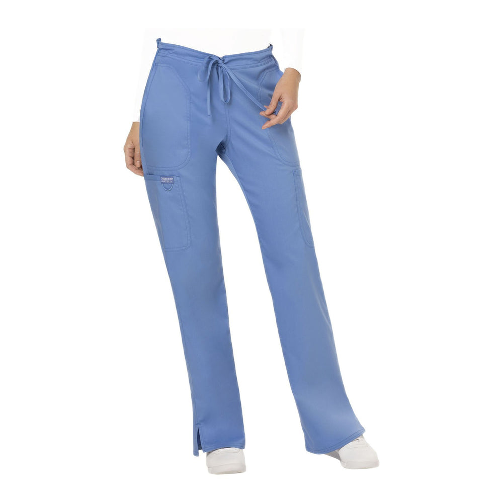 Cherokee Workwear Pant WW Revolution Mid Rise Moderate Flare Drawstring Pant Ciel Blue Pant