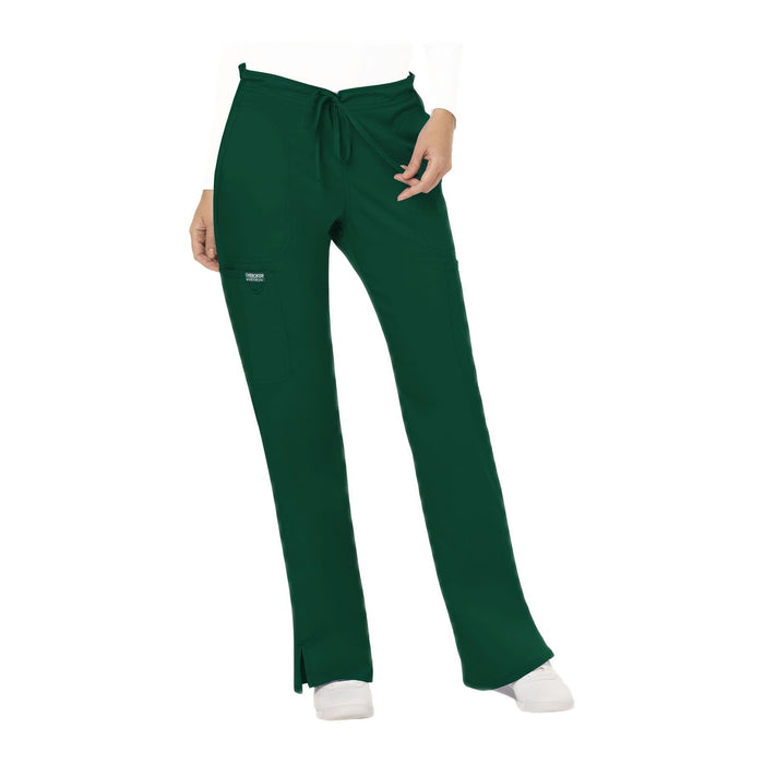 Cherokee Workwear Pant WW Revolution Mid Rise Moderate Flare Drawstring Pant Hunter Green Pant