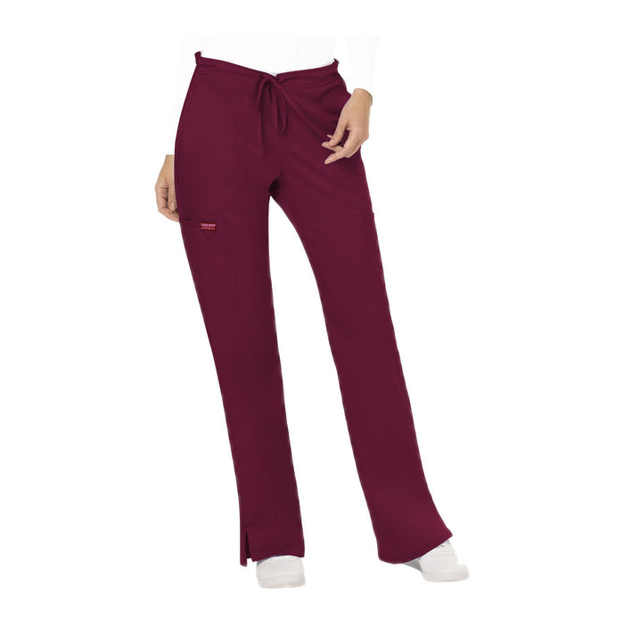 Cherokee Workwear Pant WW Revolution Mid Rise Moderate Flare Drawstring Pant Wine Pant