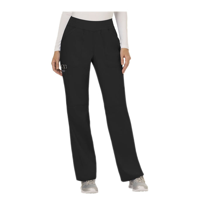 Cherokee Workwear Pant WW Revolution Mid Rise Straight Leg Pull-on Pant Black Pant