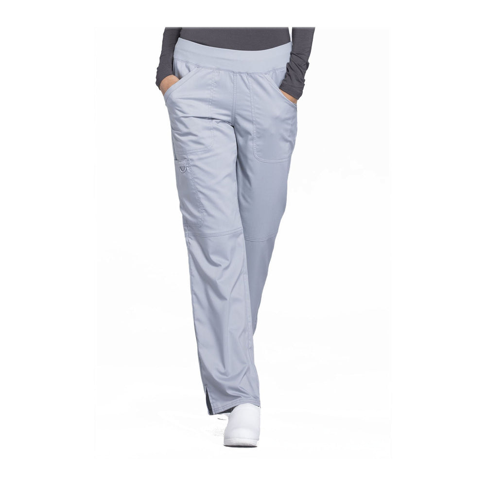 Cherokee Workwear Pant WW Revolution Mid Rise Straight Leg Pull-on Pant Grey Pant