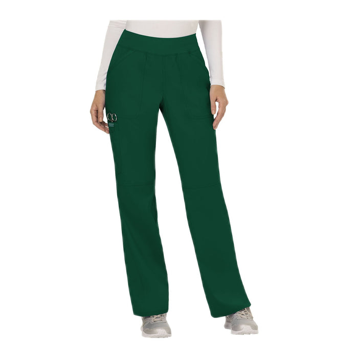 Cherokee Workwear Pant WW Revolution Mid Rise Straight Leg Pull-on Pant Hunter Green Pant