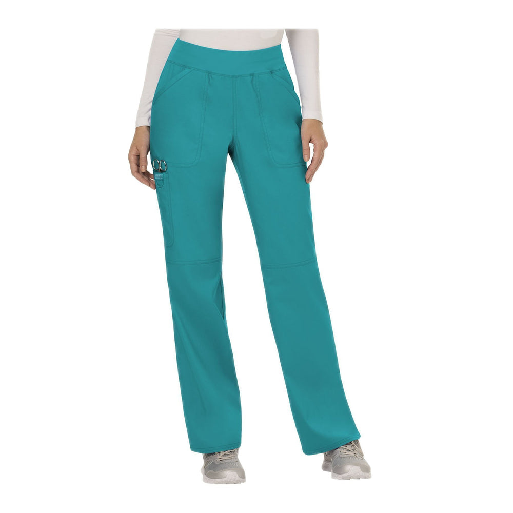Cherokee Workwear Pant WW Revolution Mid Rise Straight Leg Pull-on Pant Teal Pant