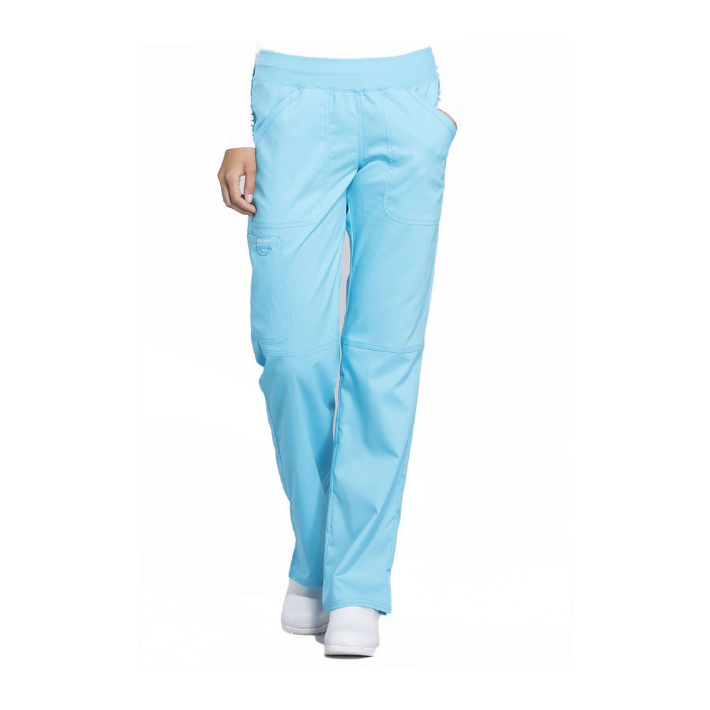 Cherokee Workwear Pant WW Revolution Mid Rise Straight Leg Pull-on Pant Turquoise Pant