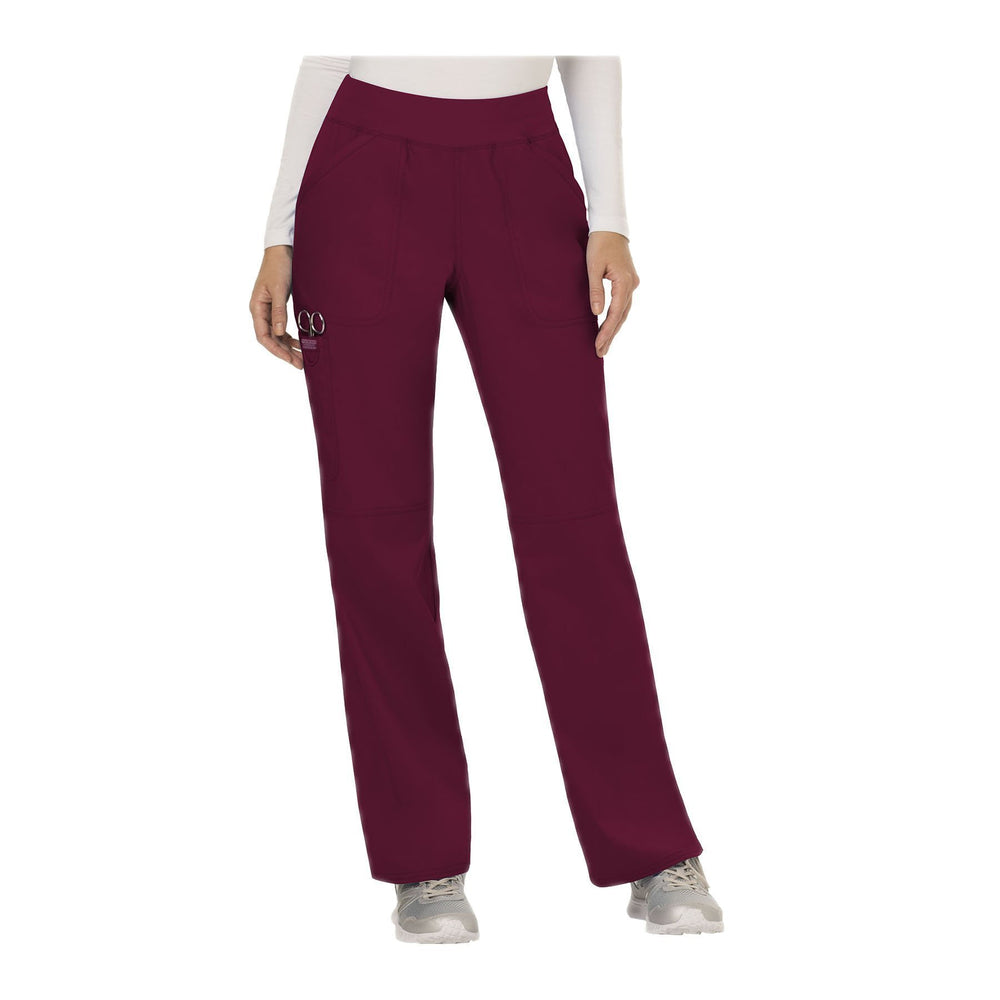 Cherokee Workwear Pant WW Revolution Mid Rise Straight Leg Pull-on Pant Wine Pant