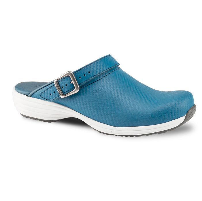 Sanita Wave Leather Clogs with Carbon Style Open Heel Blue