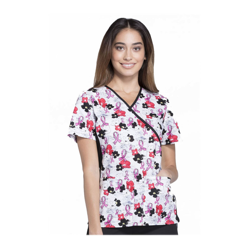 Cherokee Scrub Top All About Spring Mock Wrap Knit Panel Top Love On The Line Top