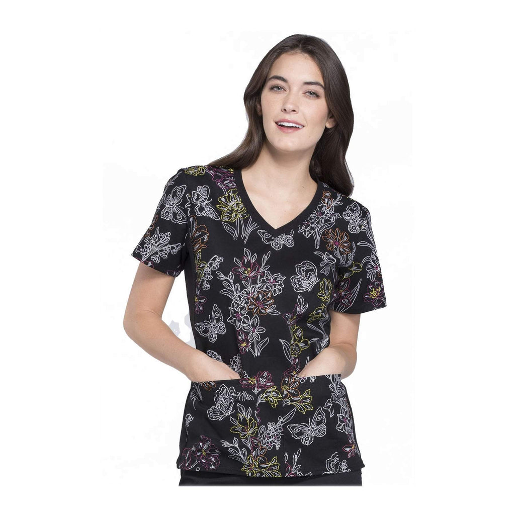Cherokee Scrub Top All About Spring V-Neck Knit Panel Top One Stitch At A Time Top
