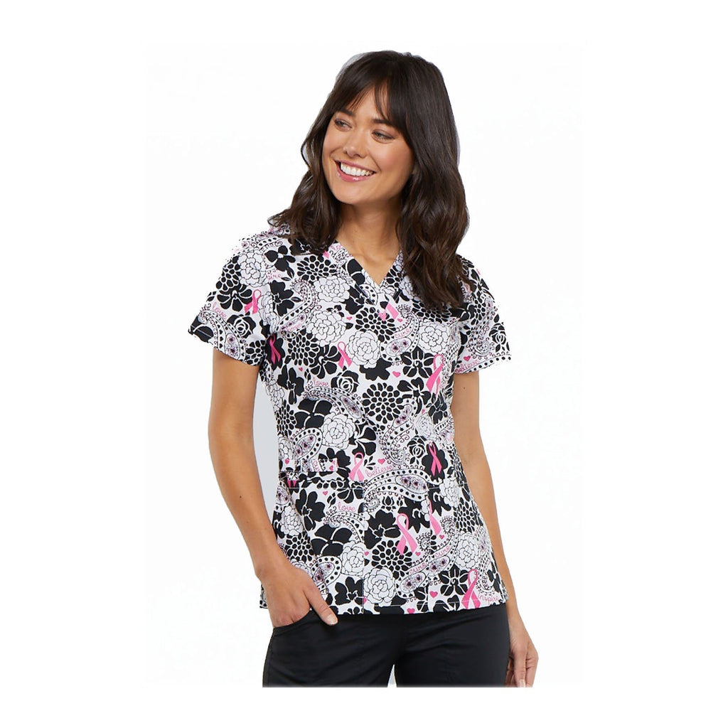 Cherokee Scrub Top Breast Cancer Awareness V-Neck Top Paisley Love Top