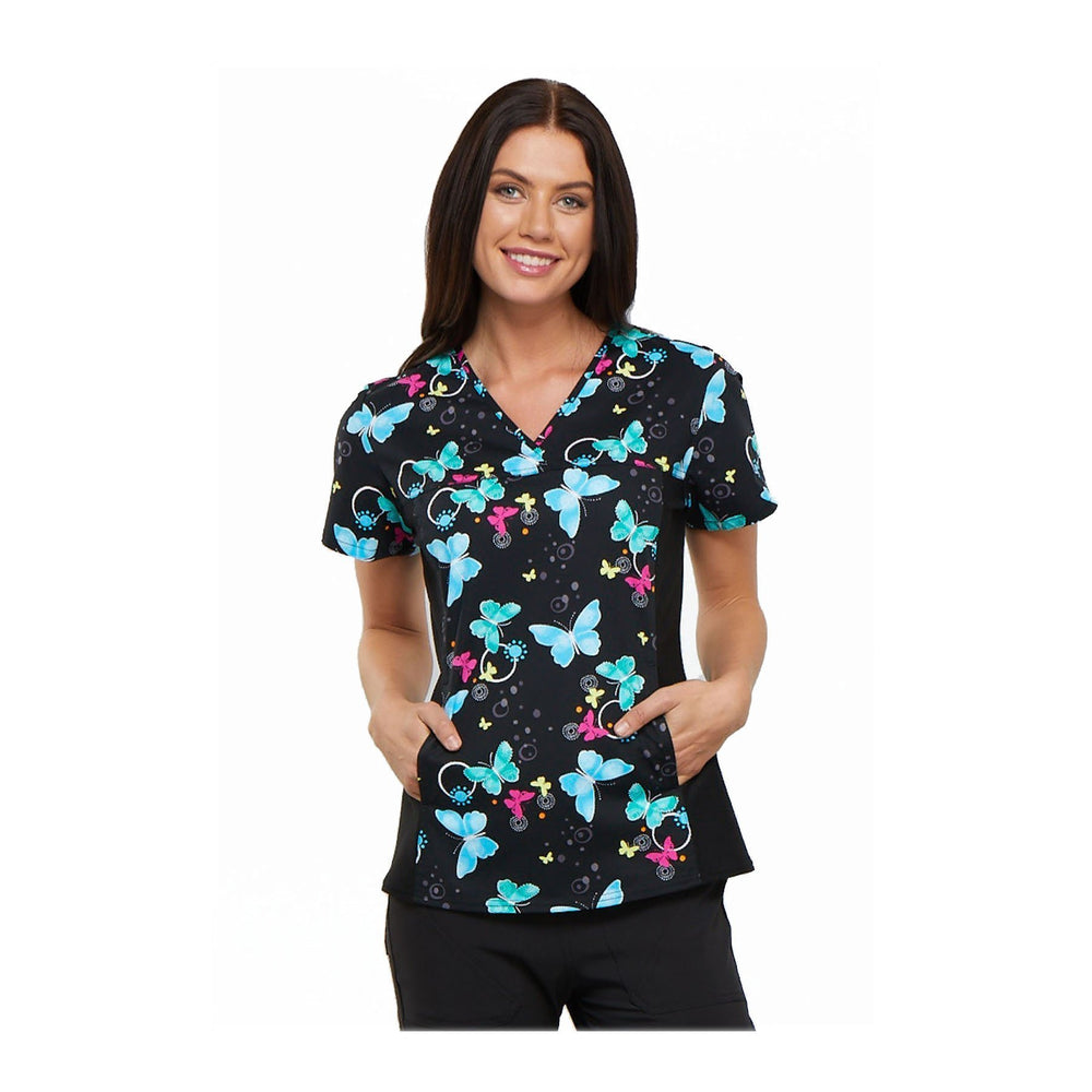 Cherokee Scrub Top Brilliantly Bold V-Neck Knit Panel Top Botanic Flutters Top