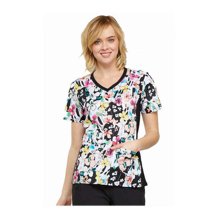 Cherokee Scrub Top Brilliantly Bold V-Neck Knit Panel Top Brilliant Bouquet Top