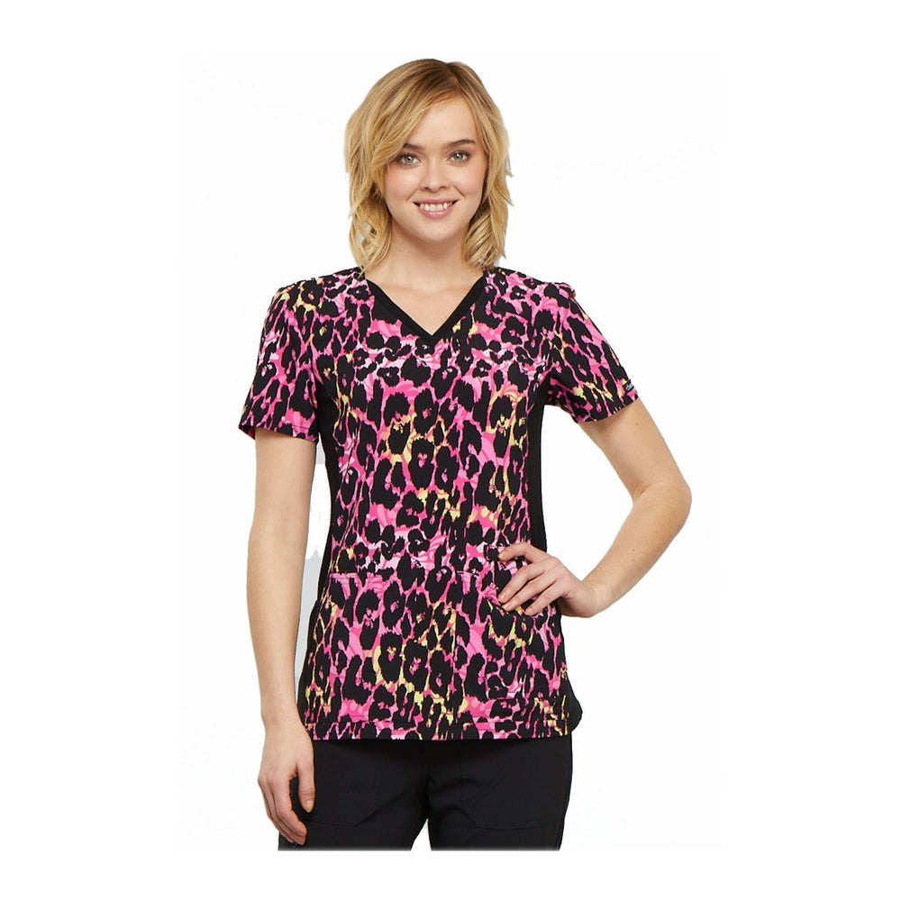Cherokee Scrub Top Brilliantly Bold V-Neck Knit Panel Top Exotic Purr-spective Top