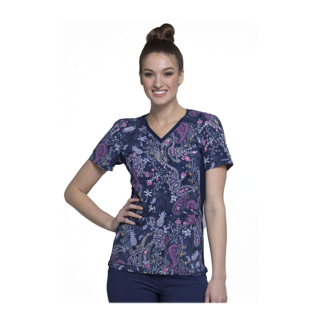 Cherokee Scrub Top Denim Dreams V-Neck Knit Panel Top Pineapple Paisley Top