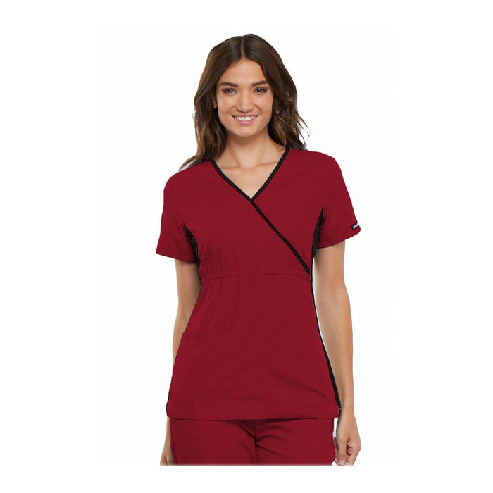 Cherokee Scrub Top Flexibles (Contrast Black) Mock Wrap Knit Panel Top Red Top